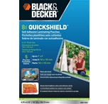 BLACK + DECKER QuickShield Self-Adhesive 4 x 6 Photo Laminating Pouches, 8-mil, 5 Pack (4X6-5SS)