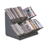 Double-Deck Countertop Catalog Rack 36- Steel Gray NEW