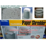 Royal CIA High Security CIA 12x Shredder NEW****VERY LIMITED STOCK