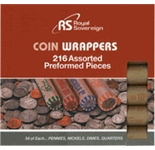 Royal Sovereign 216 Preformed Coin Wrappers. 54 of Each... Pennies, Nickels, Dimes, & Quarters