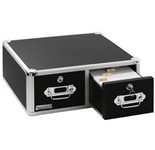 Vaultz Locking VZ01393 Index Card Cabinet Double Drawer - Black
