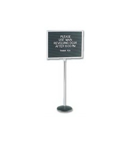 "62"" Platic Pedestal Retail Message Center on stand"
